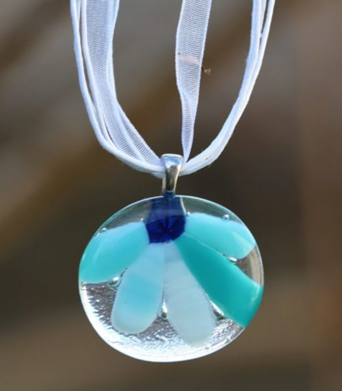 Pendentif rond en verre de dégradé de bleu