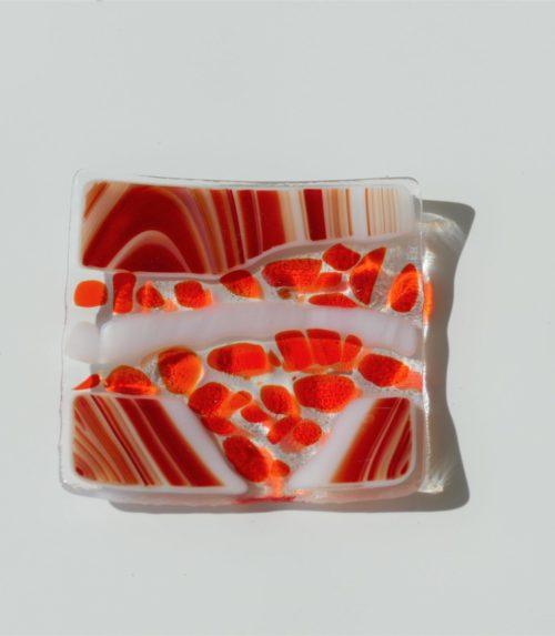 porte savon en verre dans les tons oranges