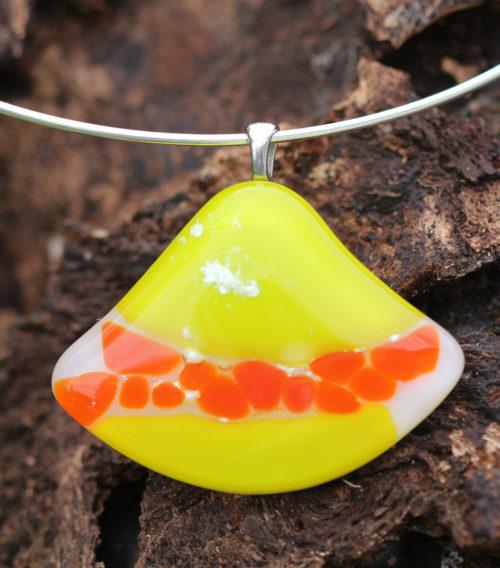 pendentif en verre anis et orange
